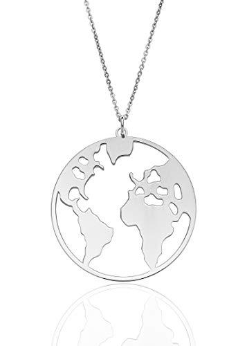 Aka Gioielli® - Damen Kette Weltkugel 925 Sterling Silber Rhodiniert - Globus Weltkarte anhänger