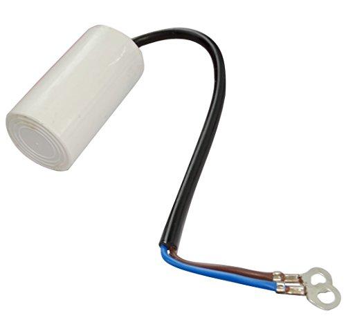 AERZETIX - C18682 - Betriebskondensator - für Motor - 8µF 450V - Ø35/60mm - mit Kabel mit Ringkabelschuh - Kunststoffkörper - Zylindrischer - Weiß