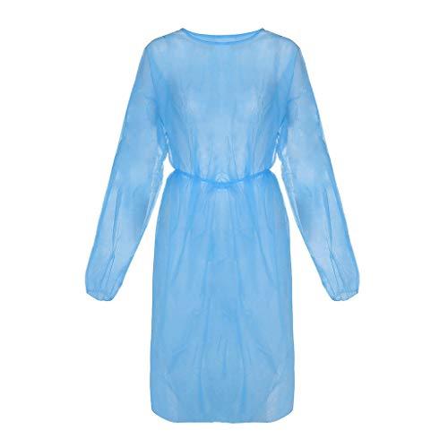 CHshe 5 Piezas Batas De Aislamiento Médico Batas Desechables Batas Quirúrgicas Batas No Tejidas Ropa De Trabajo Protectora para El Médico Enfermera Industrias del Hospital Dental(Azul)