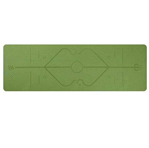 Yoga mat LKU 1830 * 610 * 6 mm yogamat met antislipdeken voor positioneringslijn, groen