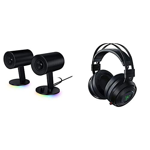 Razer - Nommo Chroma - Haut-Parleurs de Jeu 2.0 & Nari Ultimate - Casque Gamer sans Fil avec Razer HyperSense, THX Spatial Audio 360°, Coussin de Gel Rafraîchissant & RGB Chroma pour PC, PS4