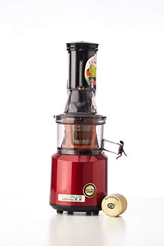 Siqur Salute, Estrattore di succo a freddo Made in Italy LifeEnergy PRO, Estrattore professionale di Succo Vivo con Gold Disc technology, bassa velocità 60 giri/Min, motore AC da 240 Watt (Rosso)