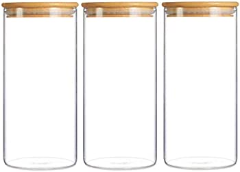 3-Pack Ellenge Glass Storage Jar Airtight Food Canisters