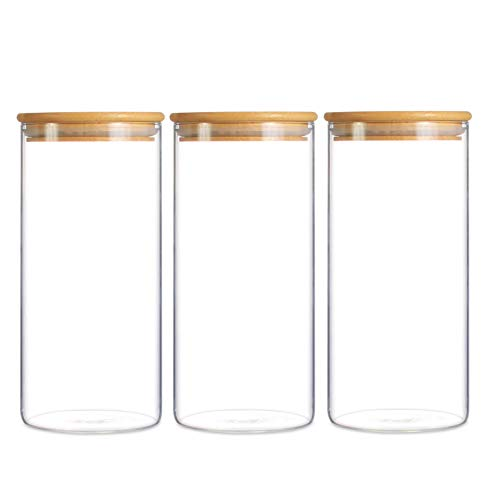 Bocal de rangement en verre avec couvercle en bambou pour une conservation hermétique, 900ml-3 Pack