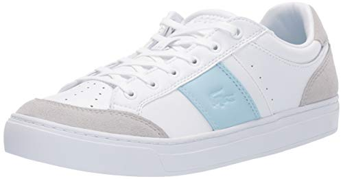 Lacoste Women's COURTLINE Shoe, White/Light Blue, 7 Medium US