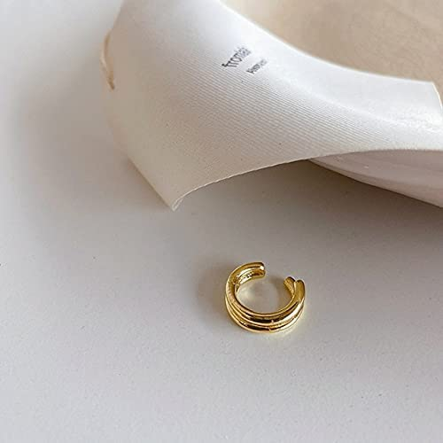 Korean Fashion Girls Minimalist Single Double Multiple Layers Gold Plated No Piercing Ear Cuffs for Women Clip On Earrings