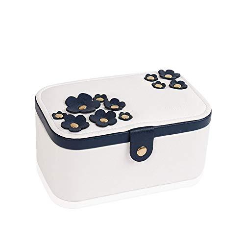 YZHM Caja de joyería de Cuero, Flores de Cerezo Organizador de Almacenamiento de Joyas, Regalo para Mujer Caja de contenedor de joyería, Fase de Franela Caja de joyería de Boda Exquisita