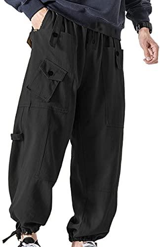 MILLIONSTORE Streetwear Techwear Hip Hop Cargo Harem Pants for Men Multi-Pocket Cargo Pants Loose Casual Trousers