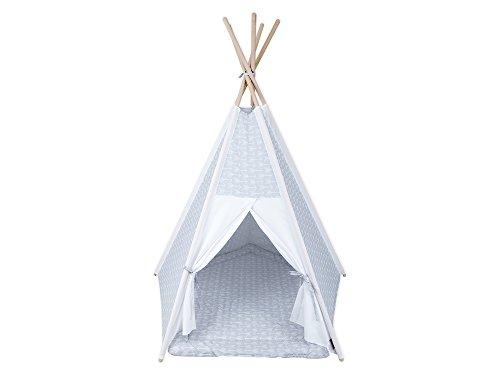 KraftKids Spielzelt-Tipi weiße Pfeile auf Grau Uniweiss, Indianer-Zelt zum Spielen für Kinder, Kleinkinder und Babys, inkl. Spielmatte