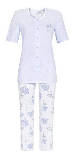 Ringella Damen Pyjama mit 7/8 Hose bleu 54 0211236, bleu, 54