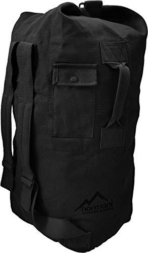 normani Seesack aus reißfestem Canvas-Material mit Doppelgurt und Metallverschluss - 100% Baumwolle Farbe Black Größe 90 Liter