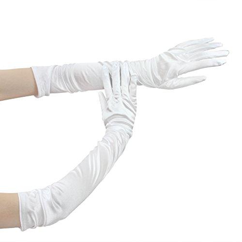 FakeFace Opernlänge Fingerspitzen Handschuh Elastischer Satin Brauthandschuhe Party Abendhandschuhe handschuhe Winter Frühling Sommer Weiß