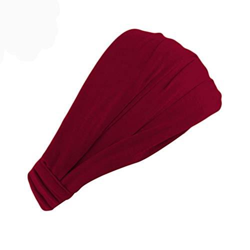 Egurs - Cinta para el pelo para mujer, de algodón, elástica, monocromática, Rojo vino.