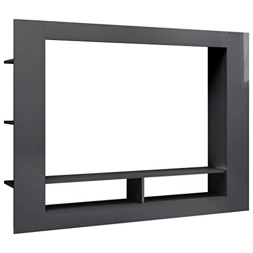 vidaXL TV Schrank Lowboard Sideboard TV Möbel Fernsehschrank Fernsehtisch Wohnwand Medienwand Anbauwand Schrankwand Hochglanz-Grau 152x22x113cm Spanplatte