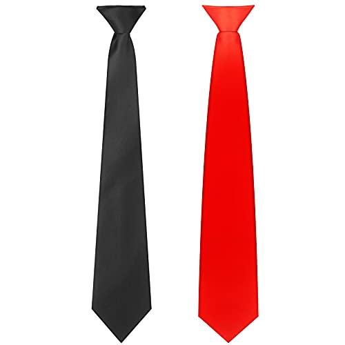 2 Corbatas con Clip de Hombre Corbata de Color Sólido Pre-Atada (Rojo, Negro)