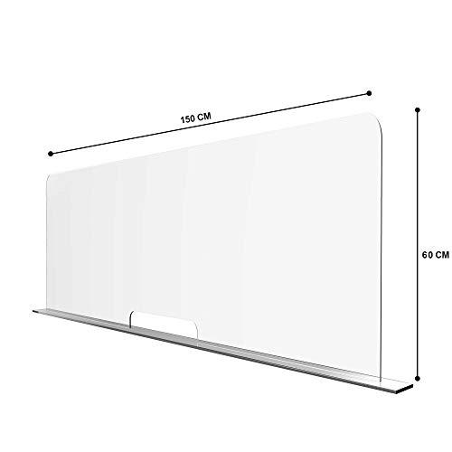 Solarplexius Mamparas de Protección, Escudo de Acrílico Transparente Plexiglass para Mostradores y Ventillas de Transacciones, Protección contra Estornudos y Tos ( 150 x 60 cm)