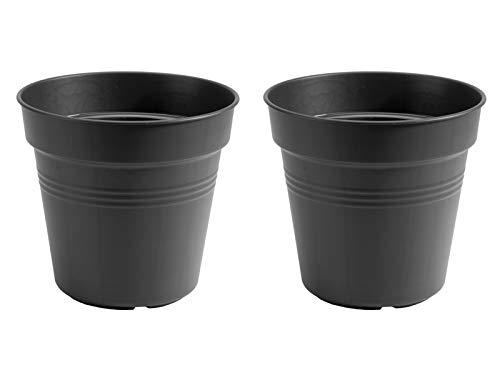 EHLO Green Basics Anzuchttopf Blumentopf Pflanztopf Gartendeko anthrazit rund 24 cm 2 Stück