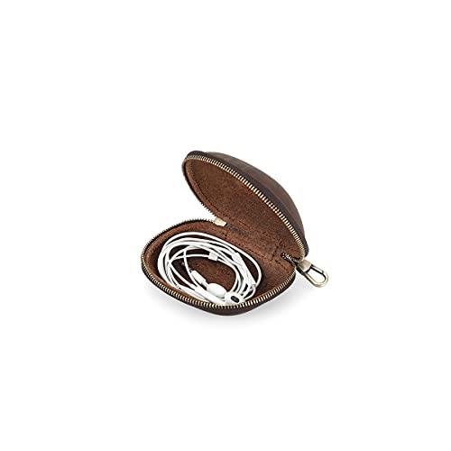 Hiram - Funda de piel auténtica compatible con auriculares, monedero, funda plegable para gafas, cubierta de piel suave con gancho para llavero