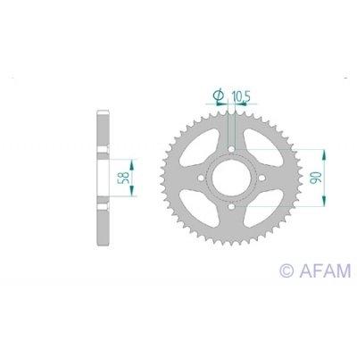 AFAM Kettenrad Stahl Teilung 428 Zähne 45 für Daelim VJ 125 Roadwin FI, KMYBA4BLS, Bj. 2007-2008 / Teilung: 428 / Stahl / Lochkreis: 58mm / Schrauben: 4x10,5mm / Innendurchmesser: 90mm
