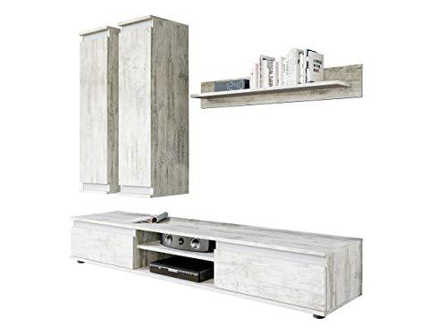 Wohnwand Check, mit 2 Hängeschränke TV-Lowboard und Wandregal, Wohnzimmerschrank, Matt (Canyon Weiß-Kiefer/Anthrazit)