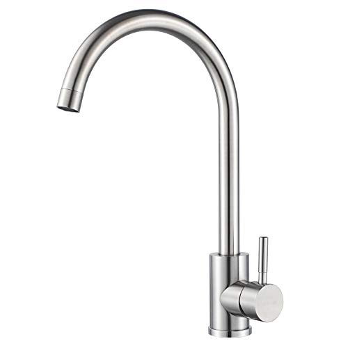 Kohonby Single Handle High Arc Kitchen Faucet Stainless Steel Brushed Nickel,Commercial Single Hole Kitchen Sink Faucet,Modern One Hole Bar Sink Faucet