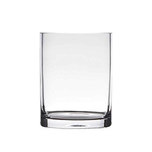 Hakbijl Dekoglas, Vase Zylinder H. 15cm D.12cm transparent rund Glas