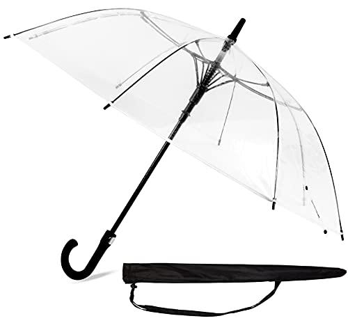 Sternenfunke Regenschirm transparent klein durchsichtig Ø101 cm Schirm transparent für die Hochzeit, mit Automatik Funktion durch Komfort Druckknopf, incl. Tragetasche