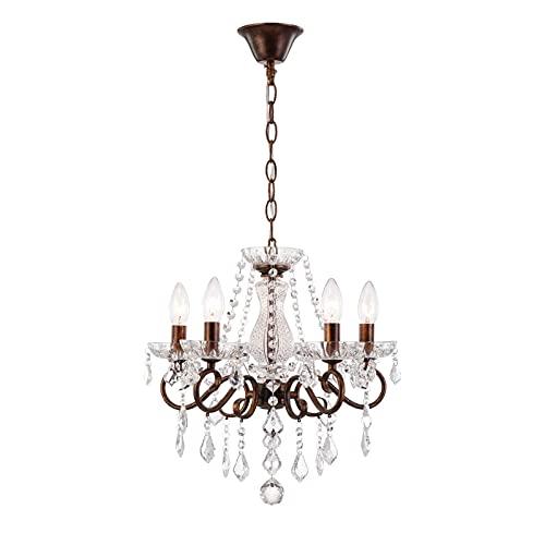 5 brazos vintage hechos a mano cristal pendiente luces de pendiente dormitorio moderno óxido araña lámparas de salón lámparas accesorios comedor pasillo lámparas colgantes E14 Base de lámpara