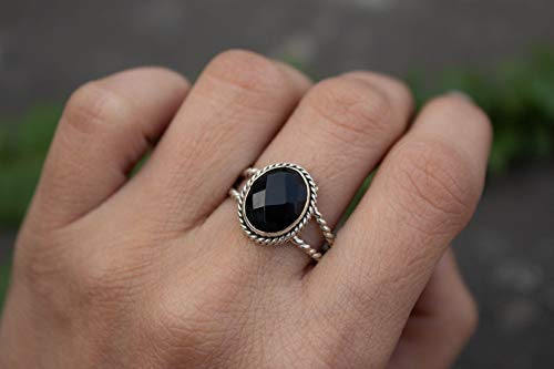 Stacking Ring Black Onyx Ring Boho Ring Dainty Ring Black Stone Ring Friendship Ring Onyx Jewelry Onyx Sterling Silver Ring