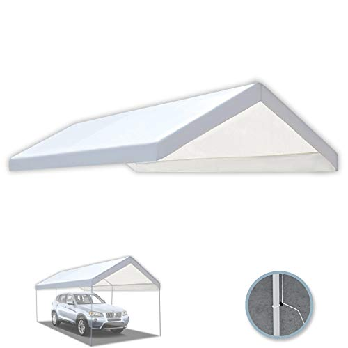 BenefitUSA 10'x20' Carport Replacement Canopy Tent Garage Top Tarp Shelter Cover w Cable Ties (with Edge)
