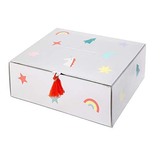 Adventskalender Einhorn mit kleinen Stempeln und Stempelkissen in Knallfarben für Mädchen