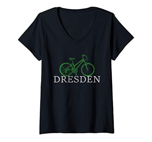 Damen Grüne Mobilität - Nachhaltig mit dem Fahrrad durch Dresden T-Shirt mit V-Ausschnitt