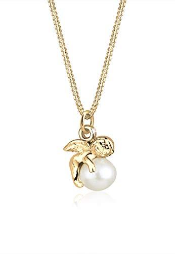 Elli Halskette Damen Engel mit Süßwasserperlen in 925 Sterling Silber