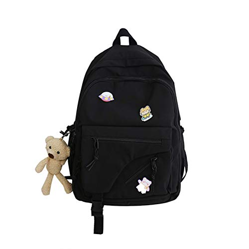 GO-AHEAD Mochila para mujer, mochila de nailon impermeable, mochila para estudiantes, escolar, para adolescentes, escuela, escuela, (color: negro, tamaño: 30 cm x 14 cm x 41 cm)