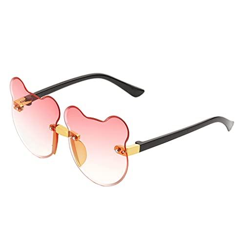 Hellery Lindas gafas de sol con orejas de gato, adornos de viaje sin marco, protección UV para niños, lentes de resina, gafas de moda para fiestas, regalo - Rosa