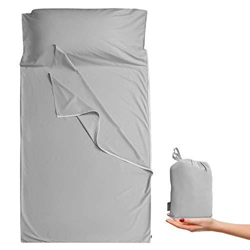 Cozysilk Sleeping Bag Liner - 100% Cotton Sleep Sacks Adults - Camping Sheets Hotel Travel Sheets with Full Length Tearaway Zipper (Light Grey, Single - 33.5 x 87 inch)