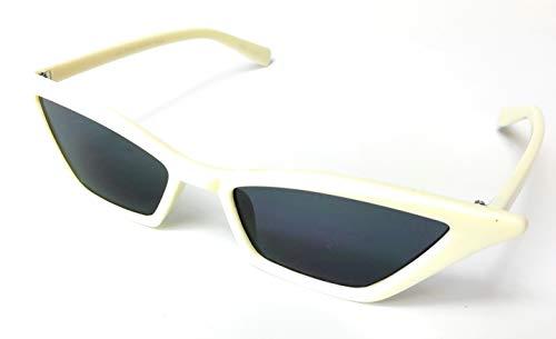 KGM Accessories - Gafas de Sol pequeñas, Delgadas, Vintage, Ojo de Gato, Crema