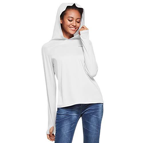 Ogeenier Camisetas de Manga Larga Mujer con Capucha Protección Solar UV UPF 50+