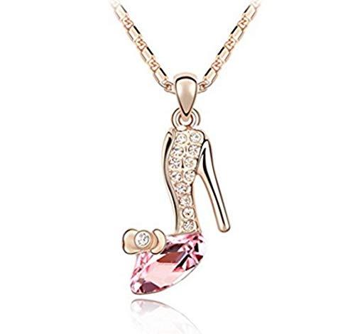 Ai's Collection ゴールド×ピンクシンデレラ ガラスの靴 ネックレス ペンダント クリスタル チェーン付 人気 レディース おしゃれ