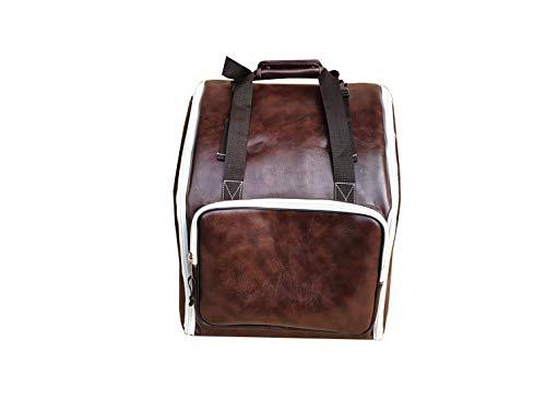 Steirische Harmonika Tasche Rucksack DELUXE-PRO-NATUR Leder Braun für 4-reihige Harmonika