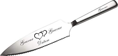 APS Tortenmesser/Kuchenheber mit eigener Gravur/Hochzeit Motiv Herzen Geschenk Brautpaar