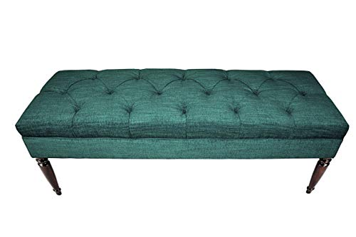 MJL Furniture Designs Claudia Collection Upholstered Diamond Tufted Bedroom Accent Bench, Lucky Series, Turquoise