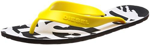 DIESEL Sandalias para Hombres, Plaja Splish, separadores de Dedos, 40-46, Logo: Colour: Black/Yellow | Size: 6.5 UK