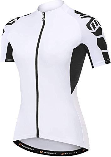 NUCKILY Fahrradtrikot, kurzärmlig, für Damen, Fahrradbekleidung, Bike-Jacke, Tops, bequem, schnelltrocknend, mit 3 Taschen (Weiß, X-Large)