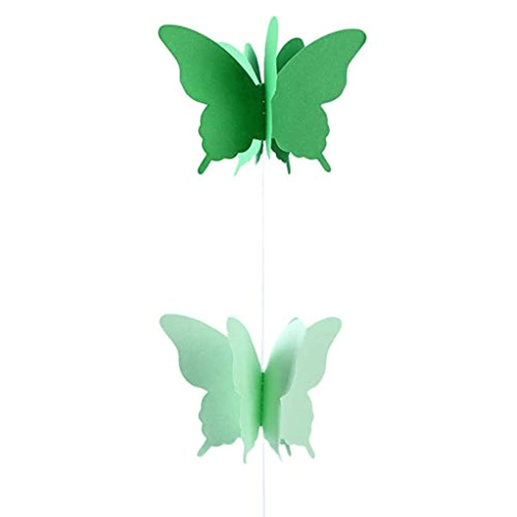 Axgo 1 Piece 3D Paper Butterfly Banner Hanging Decorative Bunting Garland for Wedding Birthday Party Baby Shower, Green