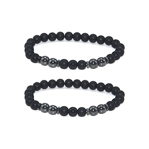 2Pcs Anti-Swelling Black Obsidian Anklet Magnetic Therapy Ankle Bracelet Weight Loss Bracelet for Women Men,Anti-Anxiety Yoga Beads Bracelet (C:Matte)