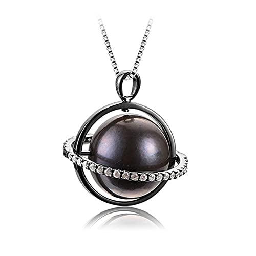 KNWSHT Colgante de perlas planetas de 14 a 15 mm con colgante de perlas negras redondas con cadena de plata de ley 925, regalo para mujeres, esposa, madre e hija