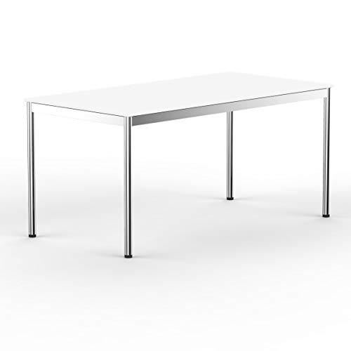 VERSEE system8x Design Schreibtisch -- Holz -- weiß -- 160 x 80 cm -- Konferenztisch, Arbeitstisch, Computertisch, Besprechungstisch, Meetingtisch, Bürotisch, massives Metall-gestell in Stahl / Chrom, Designklassiker, hochwertige Verarbeitung, Dekor kratzfest, stufenlos Höhenverstellbar von 75,5cm - 90cm, ABS Kante 2mm