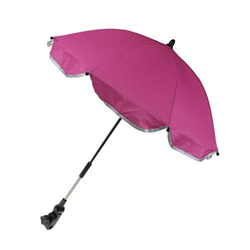 MagiDeal Premium Sonnenschirm Regenschirm für Kinderwagen Buggy Babywagen mit Universal Halterung - Rose Rosa, 65 cm