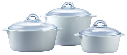 Pyroflam Round Casseroles with Lids, Set of 3